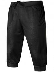 Zip Pockets Drawstring Waist Shorts BLACK 2XL