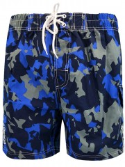 Camouflage Pattern Elastic Waist Board Shorts ROYAL BLUE XL