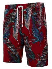 Ethnic Allover Feather Print Pockets Beach Bermuda RED M