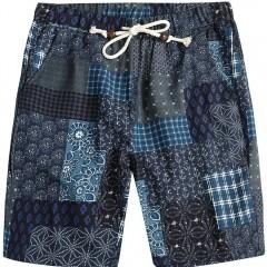 Men Beach Flower Printed Loose Shorts MULTI-D L