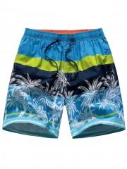 Drawstring Tropical Print Board Shorts MULTI XL