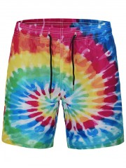 Colorful Swirl Printed Quick Dry Swim Shorts MULTI M