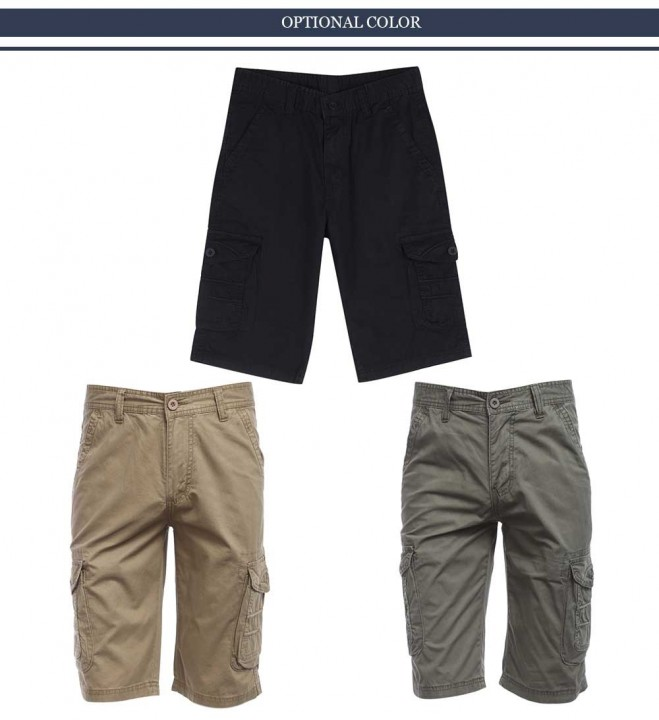 Summer Casual Multi-pocket Design Pure Color Shorts for Men