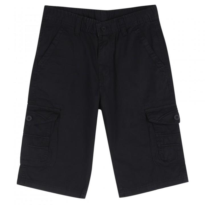 Summer Casual Multi-pocket Design Pure Color Short BLACK 32