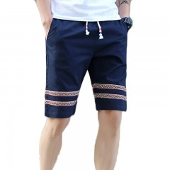Men's Striped Breathable Leisure Cotton Blends Sho DEEP BLUE M
