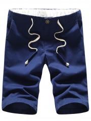Zipper Fly Drawstring Elastic Waist Casual Shorts DEEP BLUE S