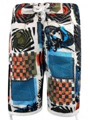 Geometrical Print Drawstring Hem Board Shorts SHOCKING ORANGE M