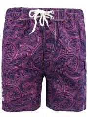 Floral Print Elastic Waist Board Shorts ROSE RED L