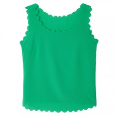 Stylish Scoop Collar Rippled Solid Color Chiffon W APPLE GREEN L