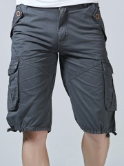 Drawstring Hem Multi Pockets Zip Fly Cargo Shorts GRAY 40