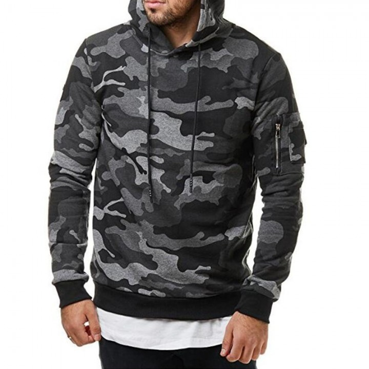 Men's Casual Cardigan Pure Military Camouflage Hoodie Sweater Winter Jacket