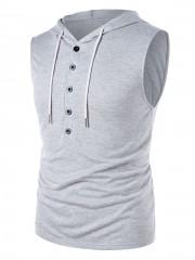 Drawstring Button Design Sleeveless Hoodie GRAY CLOUD M