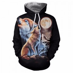 Wolf Totem Pattern Hoodie FLORAL XL