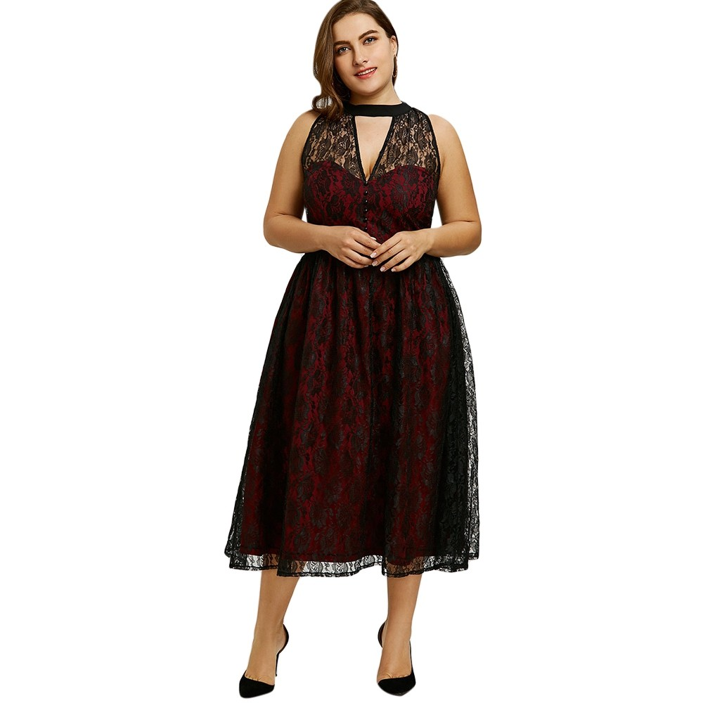 6faed0ad41e Plus Size Lace Cut Out Party Dress WINE RED XL  Product No  2260070. Item  specifics  Seller SKU C6PE382OB  Brand