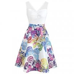 Lace Panel Sleeveless Butterflies Dress WHITE S