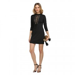 Sexy Plunging Neck Three Quarter Sleeve Criss-cros BLACK L