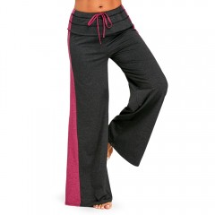 Elastic Waisted Wide Leg Pants with Color Block DARK SLATE GREY S