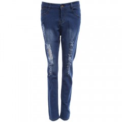 Trendy High Waist Hole Skinny Women Jeans DENIM BLUE M