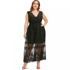 COCOCICI Fashion Large Size Casual Loose Sleeveless Sexy Lace Maxi Dress BLACK 5X
