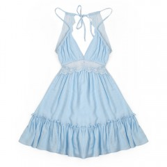 Sexy Plunge Neck Spaghetti Strap Backless Lace Spl BABY BLUE S