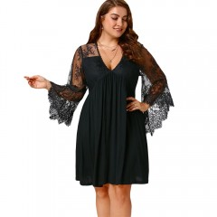 COCOCICI fashion large size casual loose women's sexy lace slim long sleeve short dress BLACK 4XL
