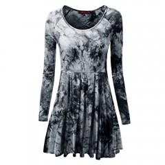 Casual Long Sleeve Round Collar Floral Print Dress BLACK XL