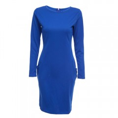 Elegant Casual Round Collar Long Sleeve Solid Plus BLUE XL
