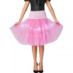Flounce Light Up Cosplay Skirt LIGHT PINK M