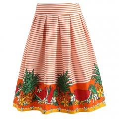 Pineapple Watermelon Striped Skirt ORANGE L
