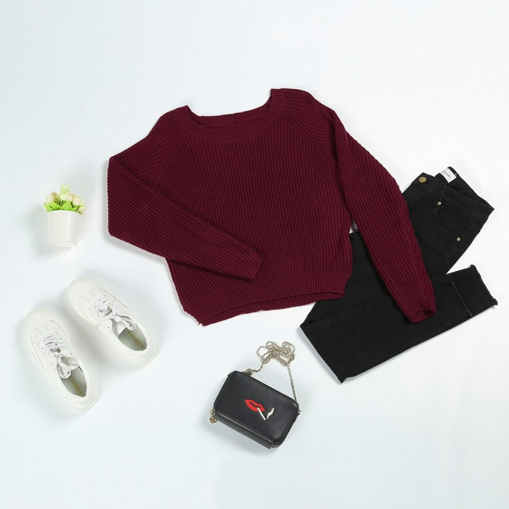 Boat Neck Loose-Fitting Ribbed Sweater