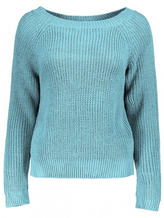 Boat Neck Loose-Fitting Ribbed Sweater GRAY ONE SIZE