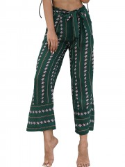 High Waist Printed Belted Wide Leg Pants GREEN L