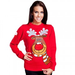 Stylish Jewel Neck Long Sleeve Deer Print Knitted  RED XL