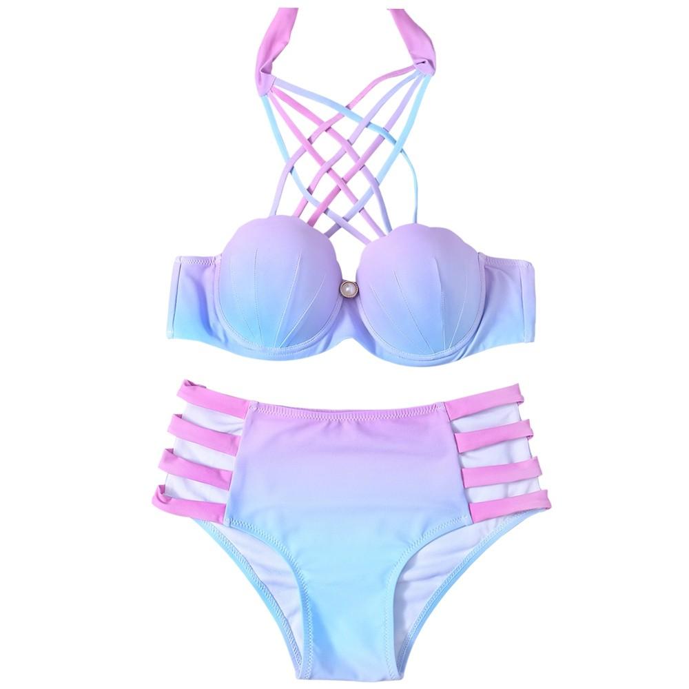 0000bc8a7068c Lace-Up Hollow Out Gradient Bikini Set COLORMIX S @ Kilimall Kenya