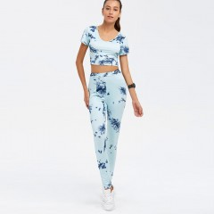 Hooded Crop Top and Printed Pants Twinset CLOUDY L