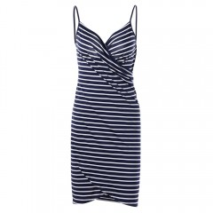 Striped Open Back Multiway Wrap Cover-ups Dress DEEP BLUE L