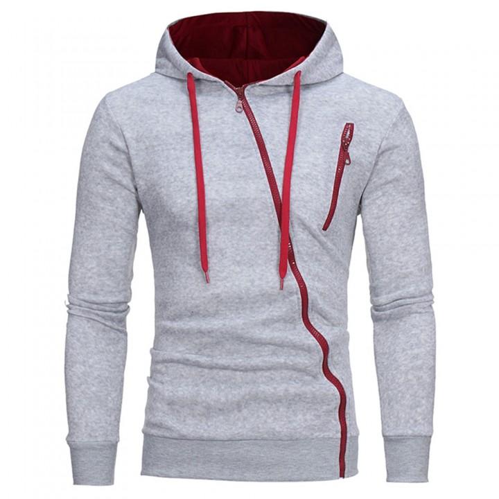 Oblique Zippers Color Block Fleece Hoodie DEEP GRAY XL