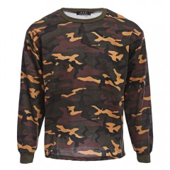 Fashionable Camouflage Round Neck Long Sleeve Pull COLORMIX M