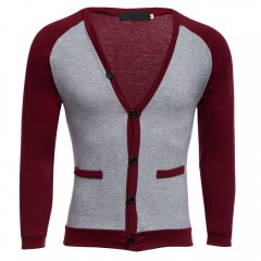 Casual Patchwork V Neck Long Sleeve Shirt for Men WINE RED 2XL