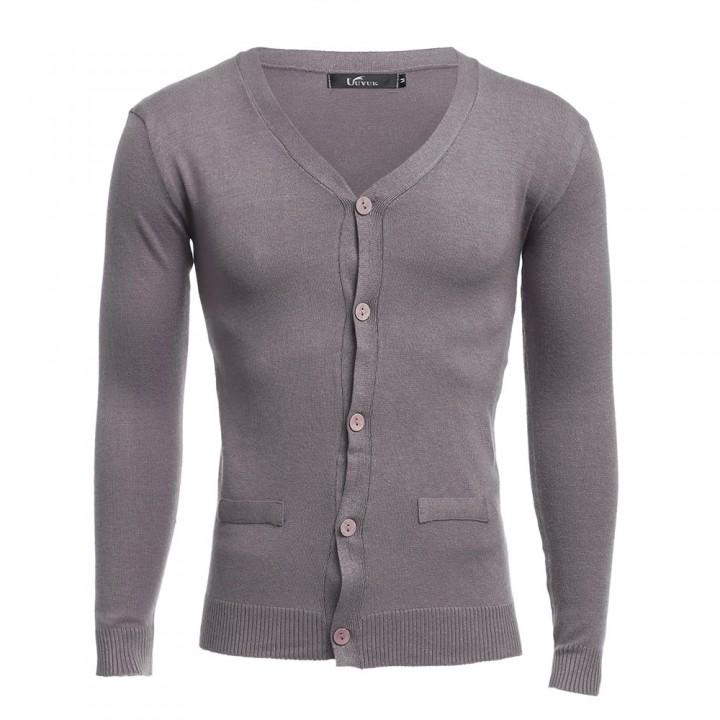Casual Solid Color V Neck Long Sleeve Slim Fit Kni BLACK XL