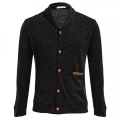 Casual Pocket Design Long Sleeve Knitwear for Men BLACK XL
