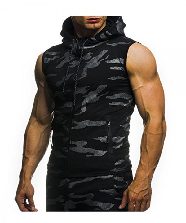 2018 New Camouflage Digital Printing Zipper Casual Slim Sleeveless Hoodie