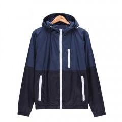 Casual Thin Color Block Zipper Design Men Long Sle BLUE L