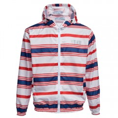 Casual Hooded Long Sleeve Color Striped Zippered M RED AND WHITE AND BLUE XL
