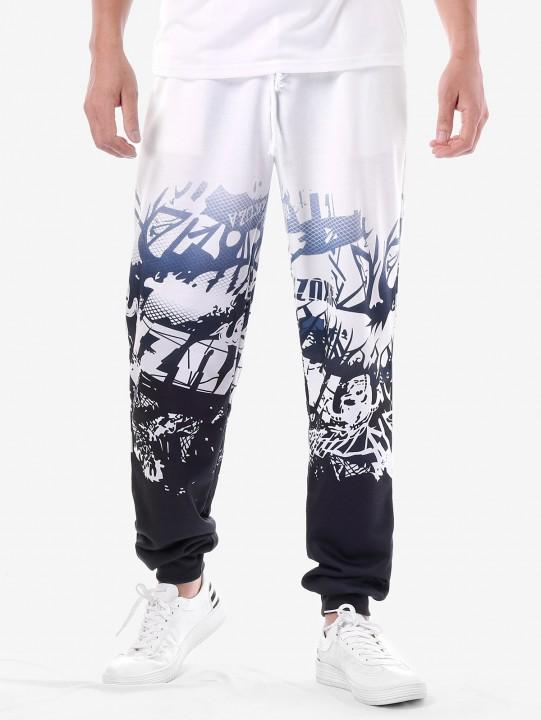 High Waisted Drawstring 3D Print Jogger Pants WHITE 2XL