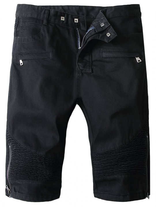 Ribbed Panels Side Zip Hem Denim Shorts BLACK XS