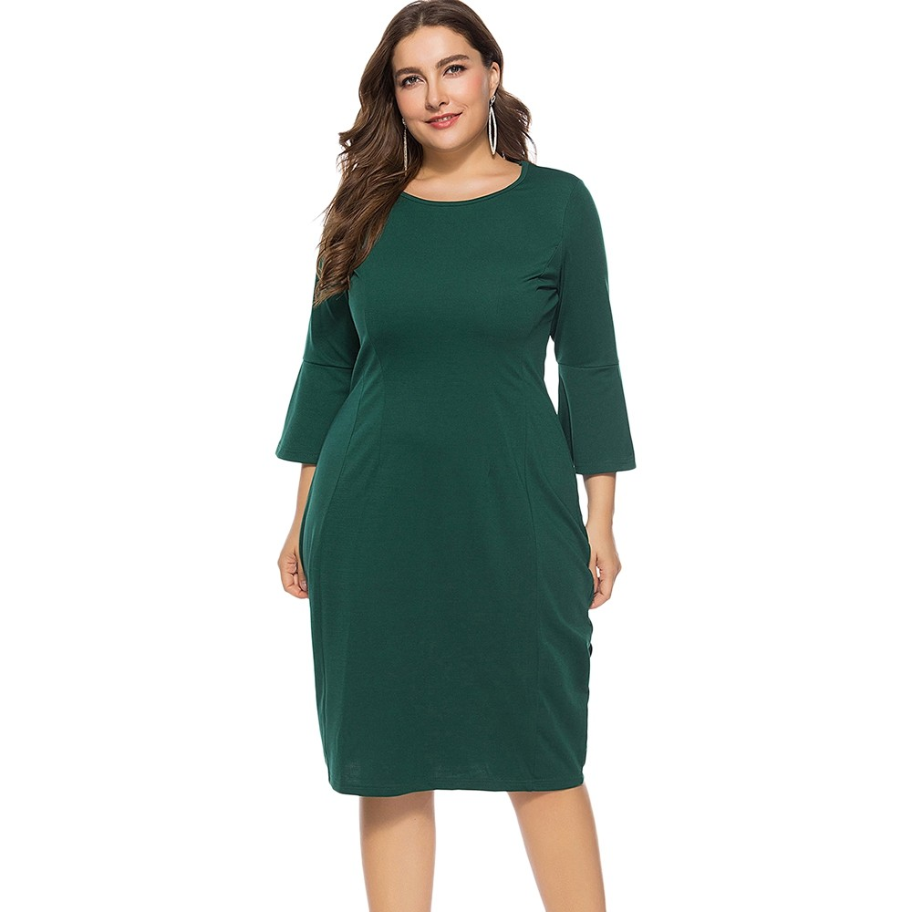 cf6dee05e4d Plus Size Bell Sleeve Sheath Dress DEEP GREEN 6X  Product No  2503865. Item  specifics  Seller SKU C6PEW4W55  Brand