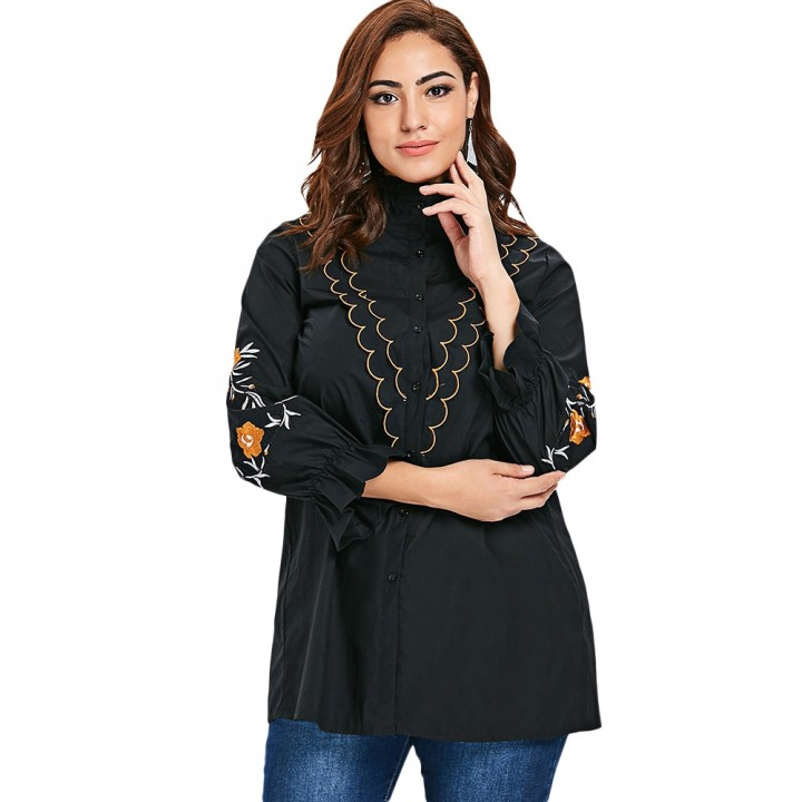 c5c0336682e09 Plus Size Ruffle Neck Embroidery Sleeve Shirt BLACK 3X   Kilimall Kenya