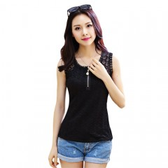 Sweet U-Neck Lace Solid Color Tank Top for Women BLACK 2XL
