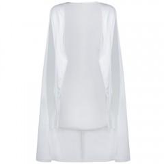 Stylish Long Slim Blazer Solid Sleeveless Coat WHITE M